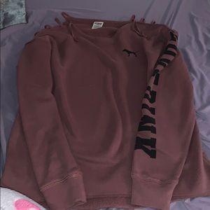 A light maroon long sleeve PINK sweater